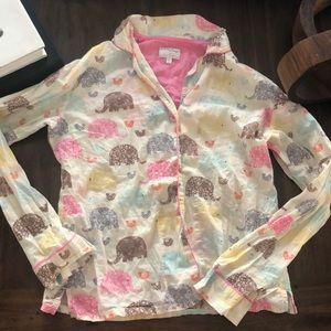 PJ Salvage button down pajama blouse top elephants